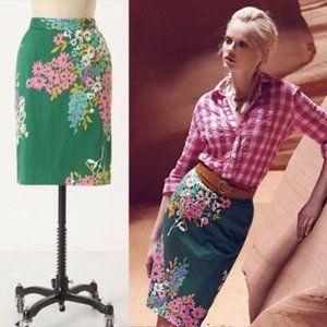 Anthropologie Odille Green Floral Pencil Skirt 2